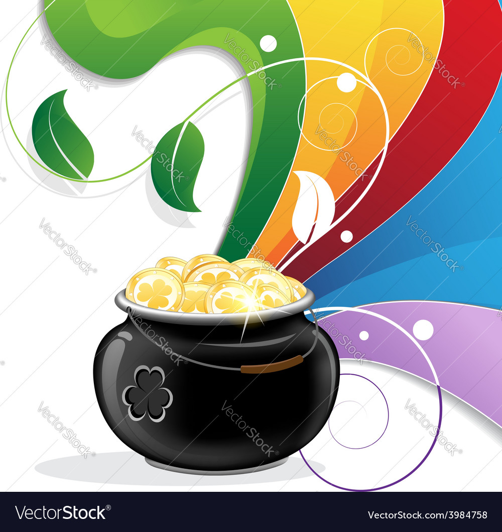 Rainbow and pot of gold vector | Price: 1 Credit (USD $1)