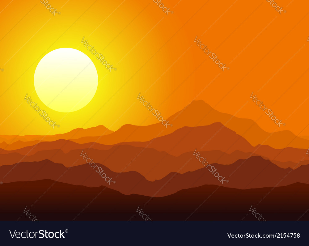 Sunset in the huge mountains vector | Price: 1 Credit (USD $1)