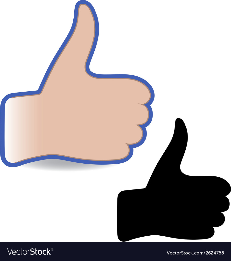 Template hand like social button vector