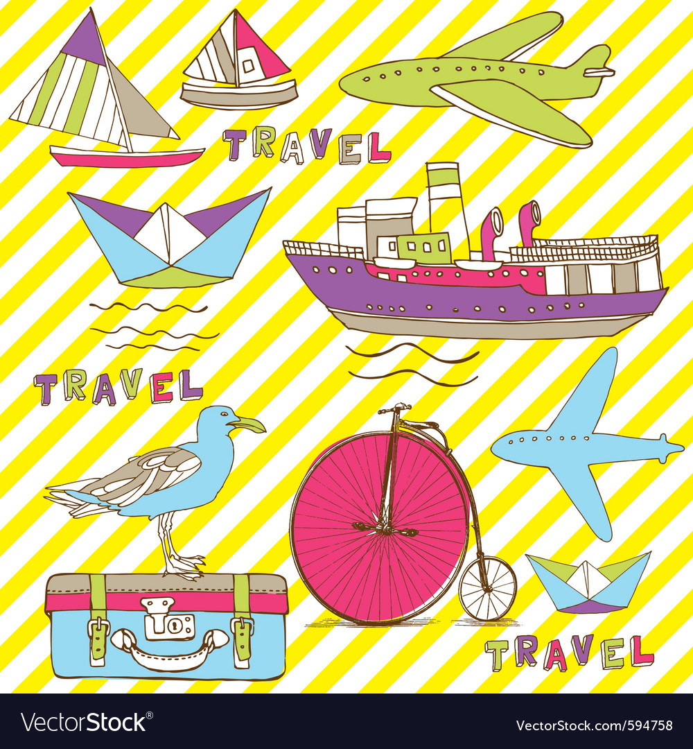 Vintage travel wallpaper vector | Price: 1 Credit (USD $1)