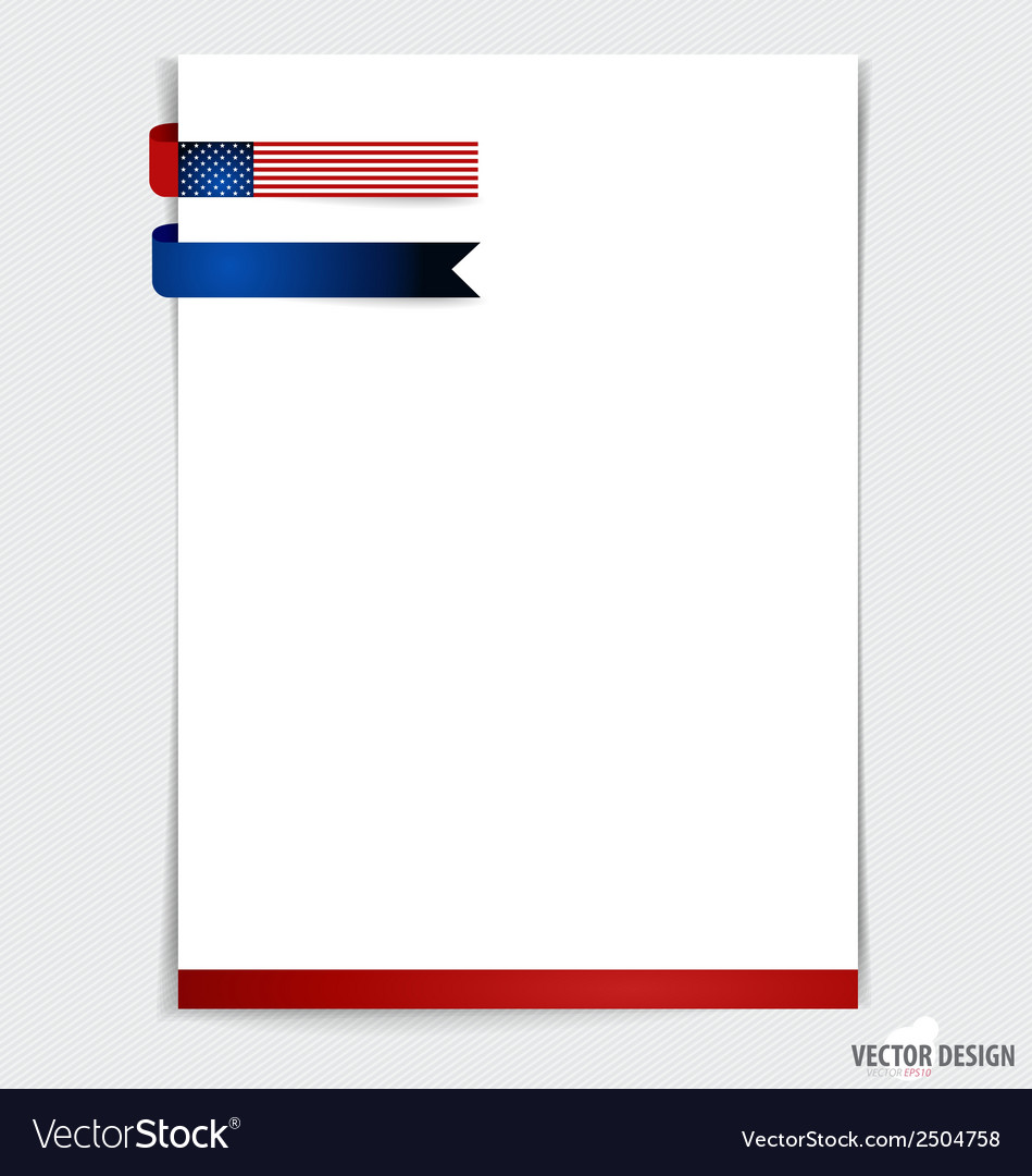 White paper with ribbon 4th of july happy vector | Price: 1 Credit (USD $1)