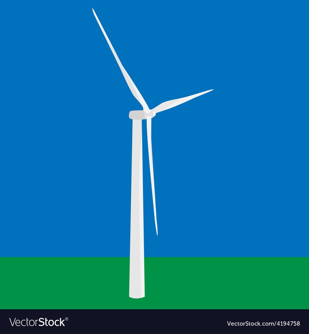 Wind turbine in the field vector | Price: 1 Credit (USD $1)
