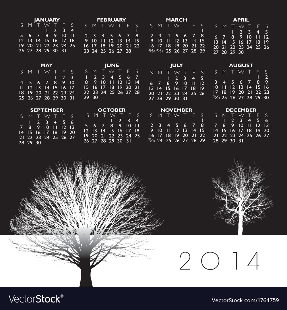 2014 two trees calendar vector | Price: 1 Credit (USD $1)