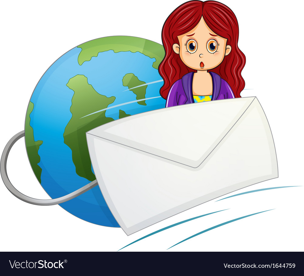 A shocked woman in the middle of the envelope and vector | Price: 3 Credit (USD $3)
