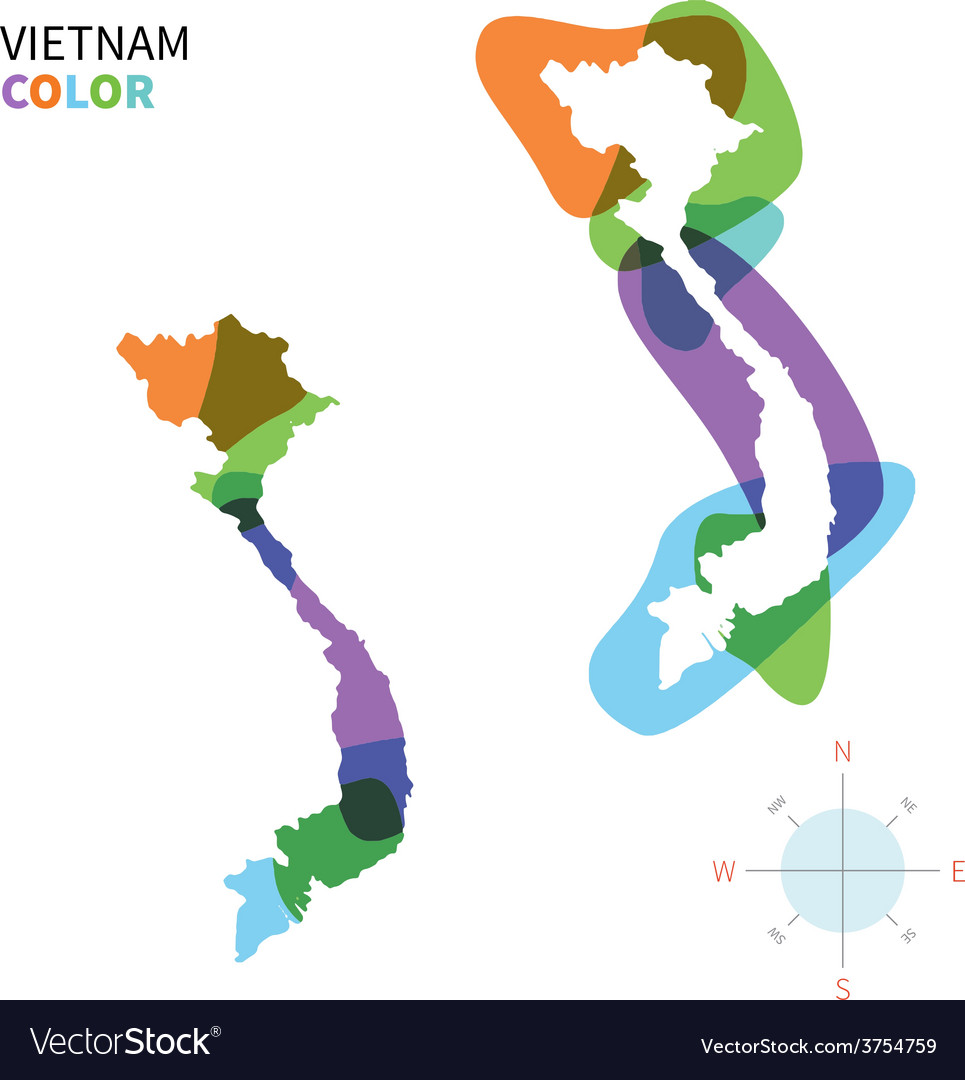 Abstract color map of vietnam vector | Price: 1 Credit (USD $1)