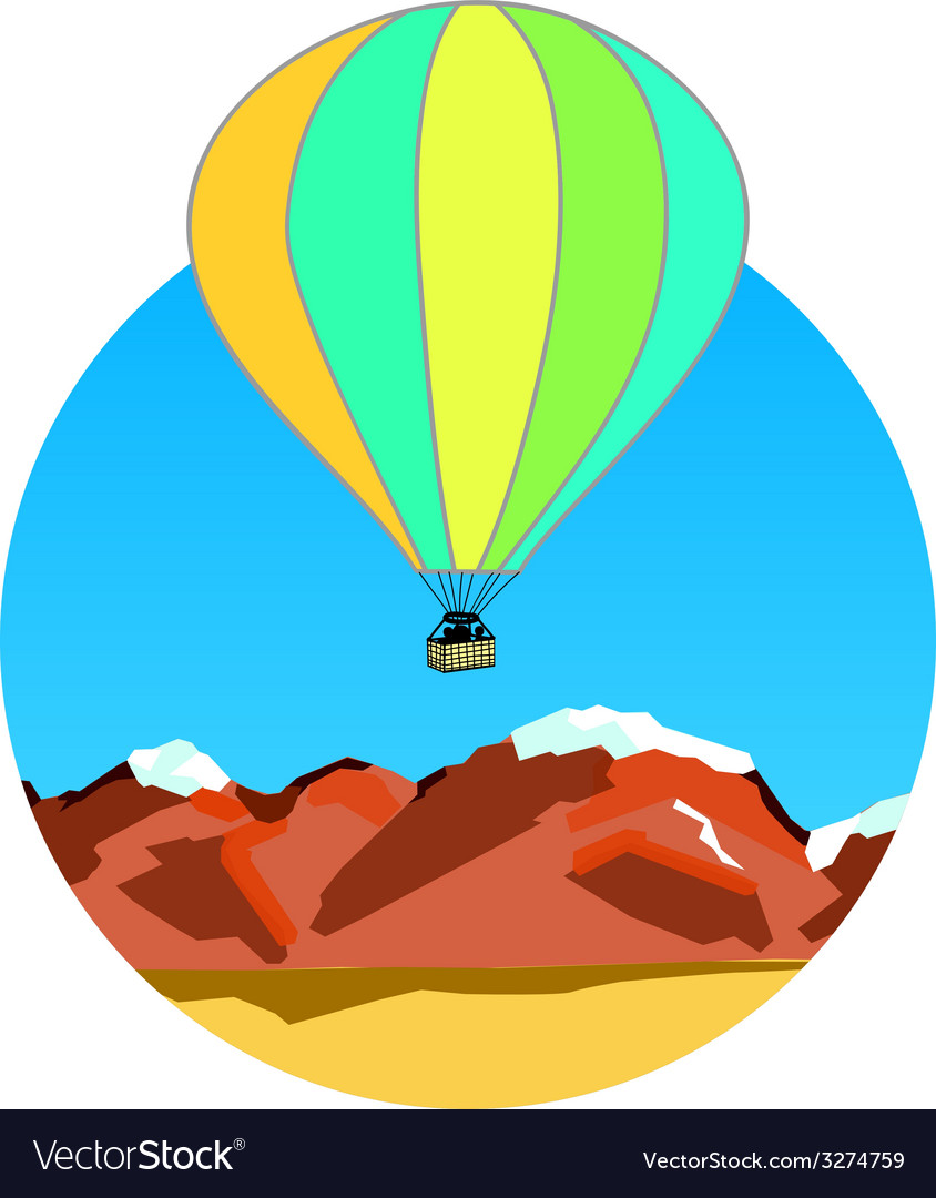 Air balloon on ridges vector | Price: 1 Credit (USD $1)
