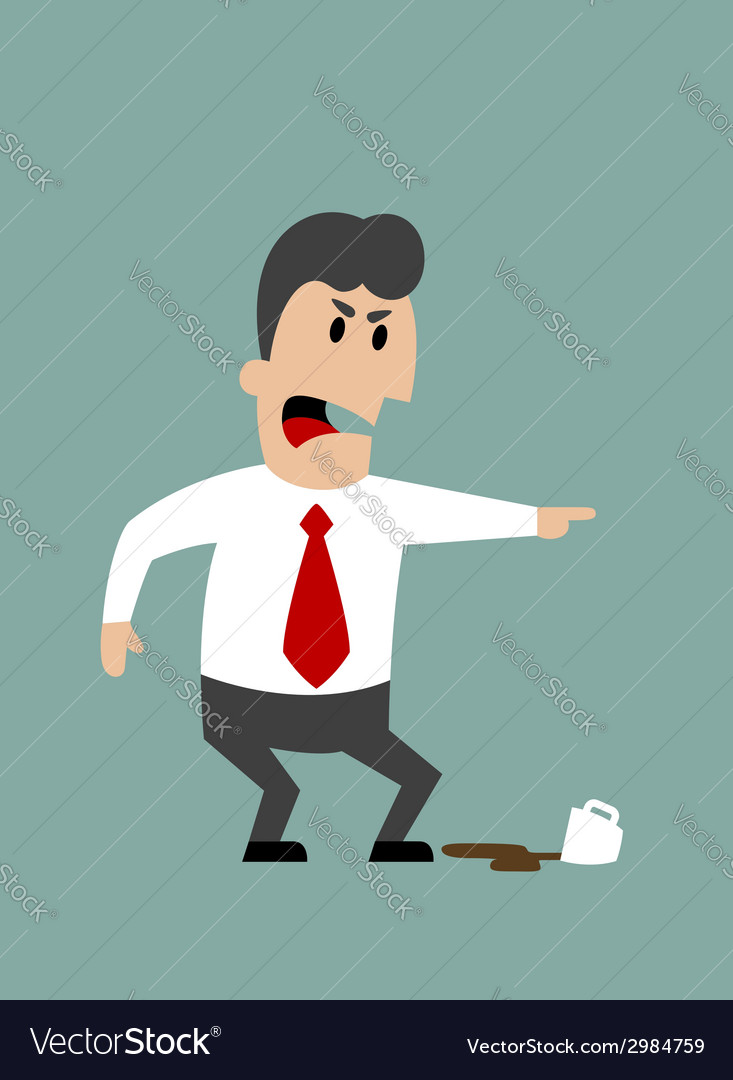 Angry boss or businessman yelling and pointing vector | Price: 1 Credit (USD $1)