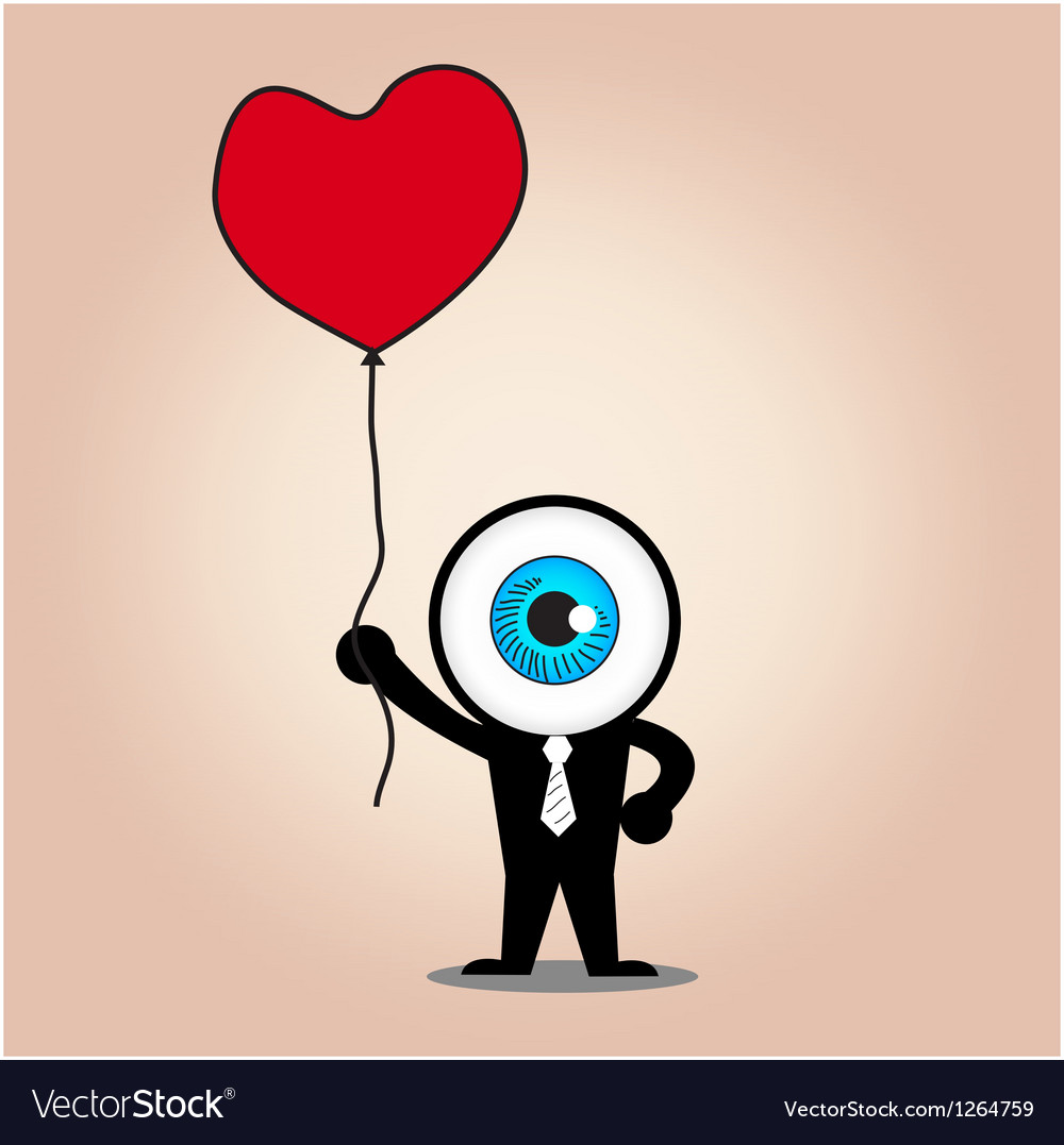 The blue eye hold red heart balloon vector | Price: 1 Credit (USD $1)