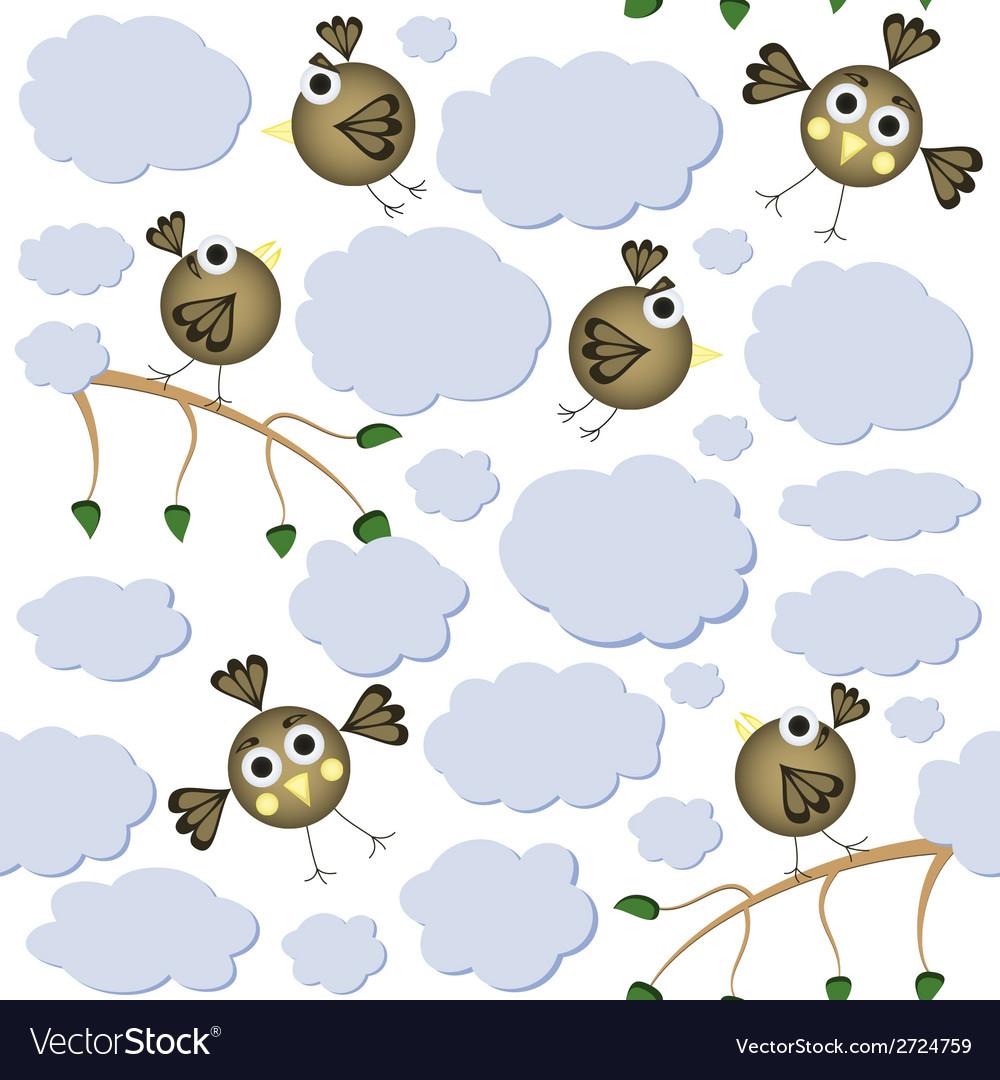 Cartoon birds seamless pattern vector | Price: 1 Credit (USD $1)