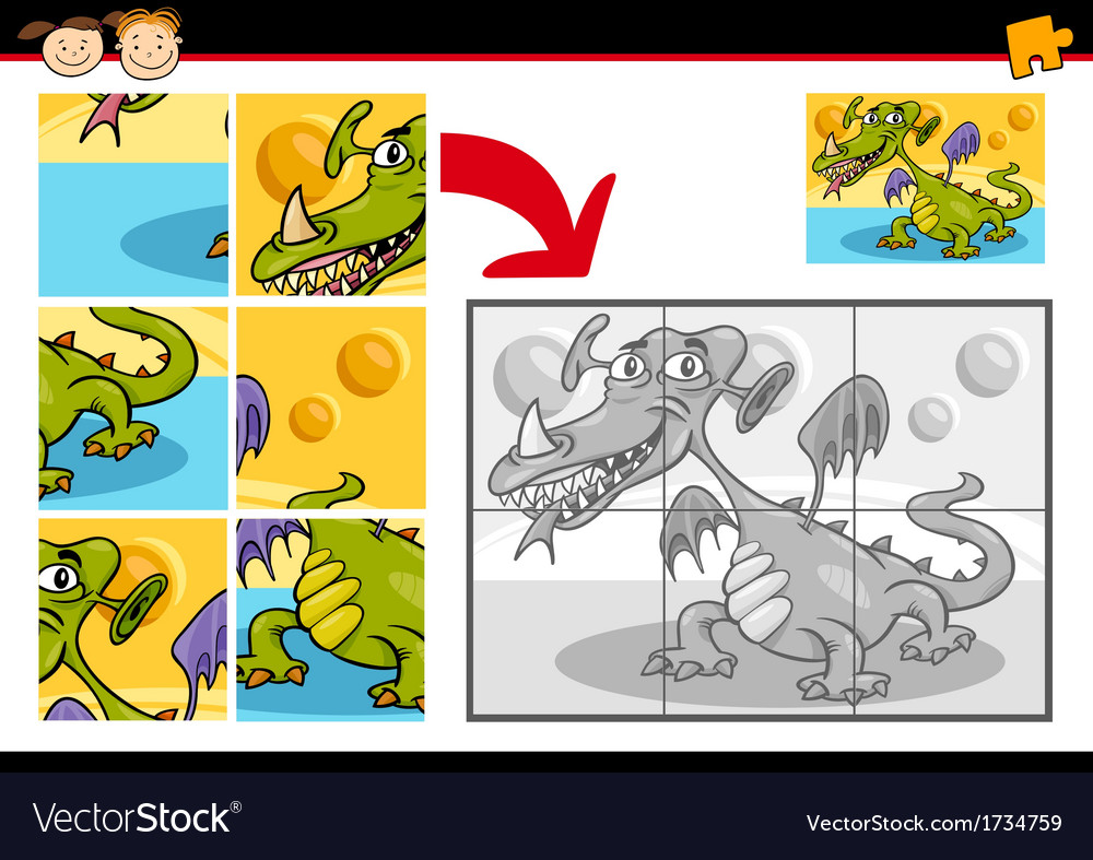 Cartoon monster jigsaw puzzle game vector | Price: 1 Credit (USD $1)