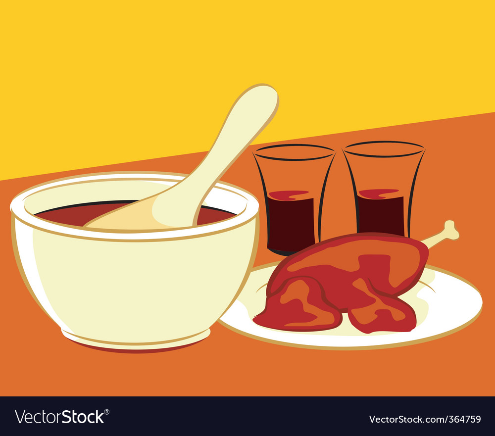 Chicken and soup vector | Price: 3 Credit (USD $3)