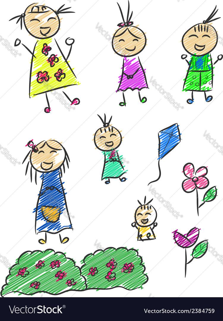 Children doodle vector | Price: 1 Credit (USD $1)