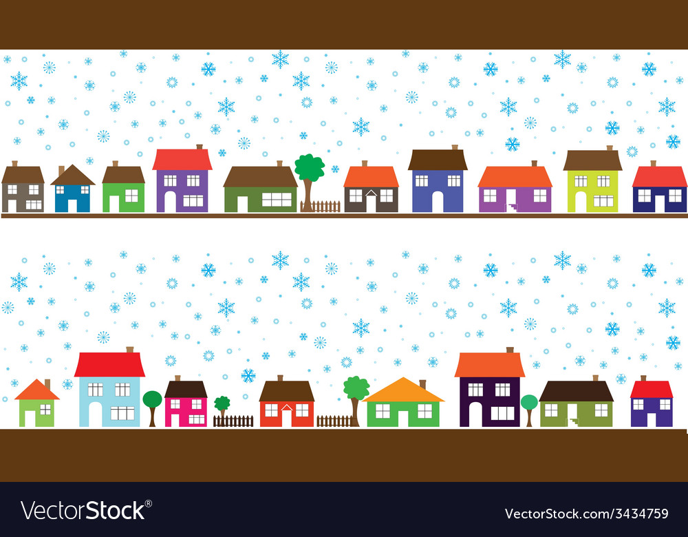 Colored neighborhood with snowflakes vector | Price: 1 Credit (USD $1)