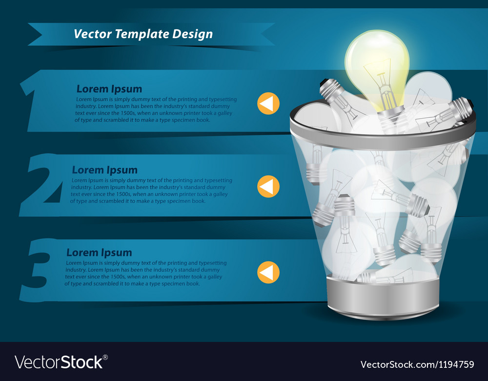 Creative template with light bulb in the trash vector | Price: 1 Credit (USD $1)