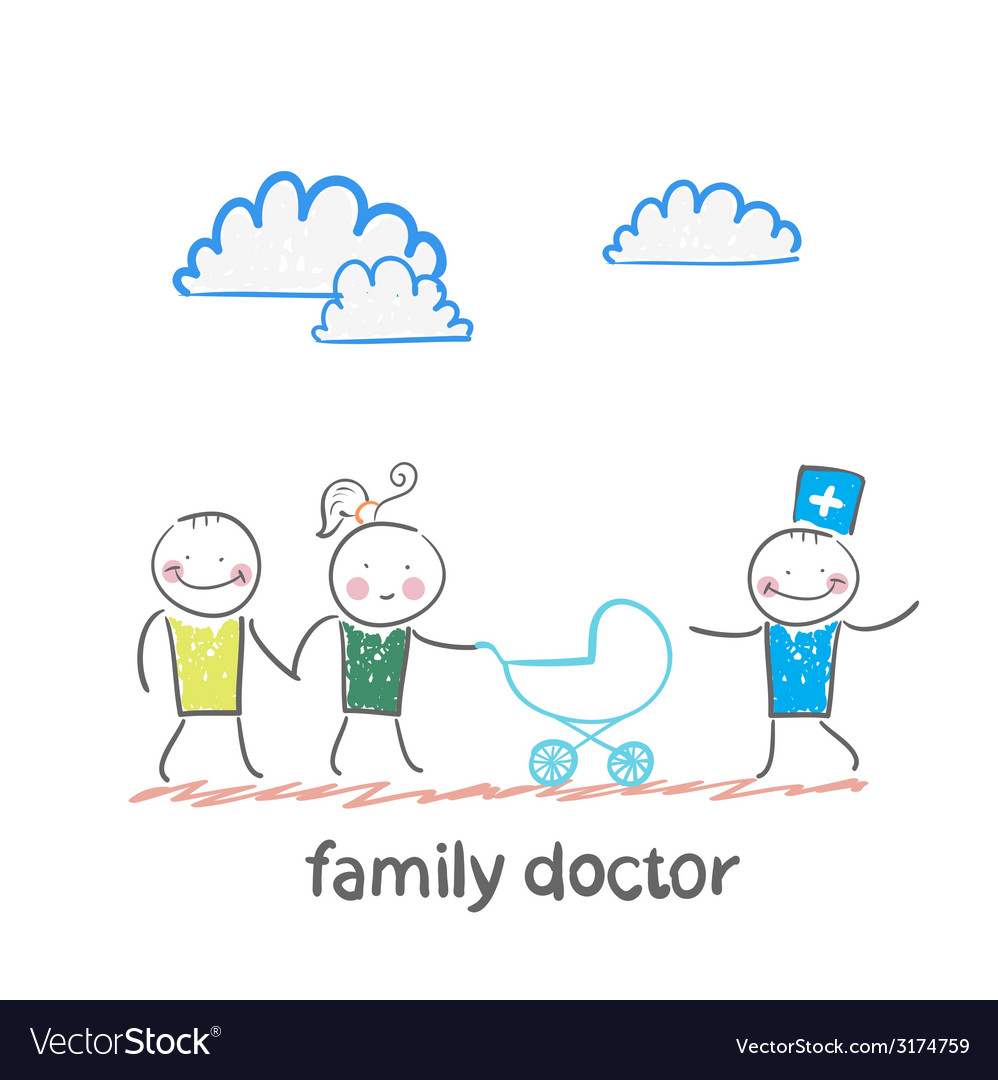 Family doctor treats the father mother and baby vector | Price: 1 Credit (USD $1)