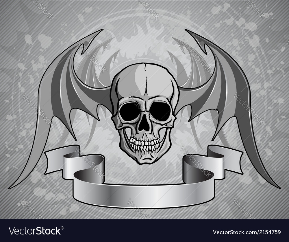 Human skull with wings - vector | Price: 1 Credit (USD $1)
