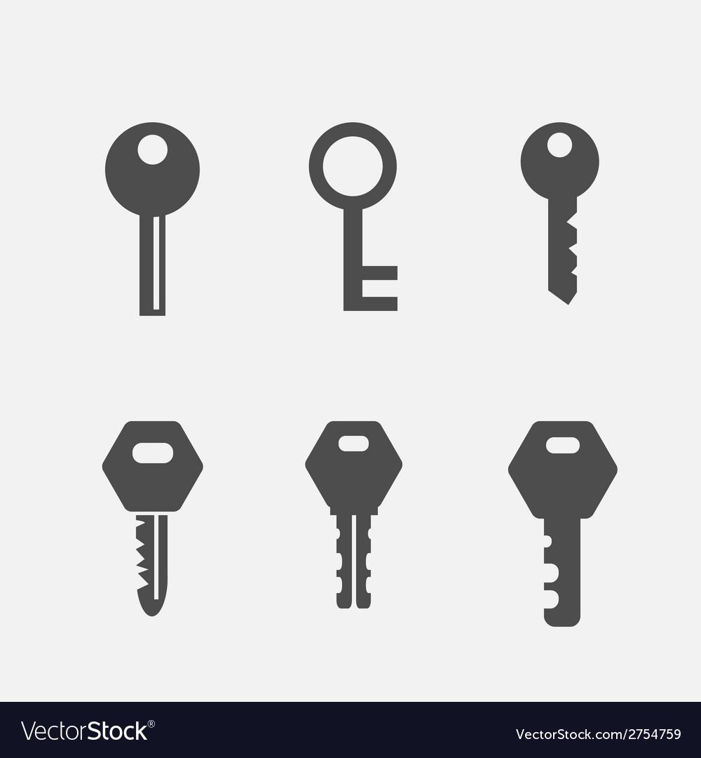 Keys flat icons set vector | Price: 1 Credit (USD $1)