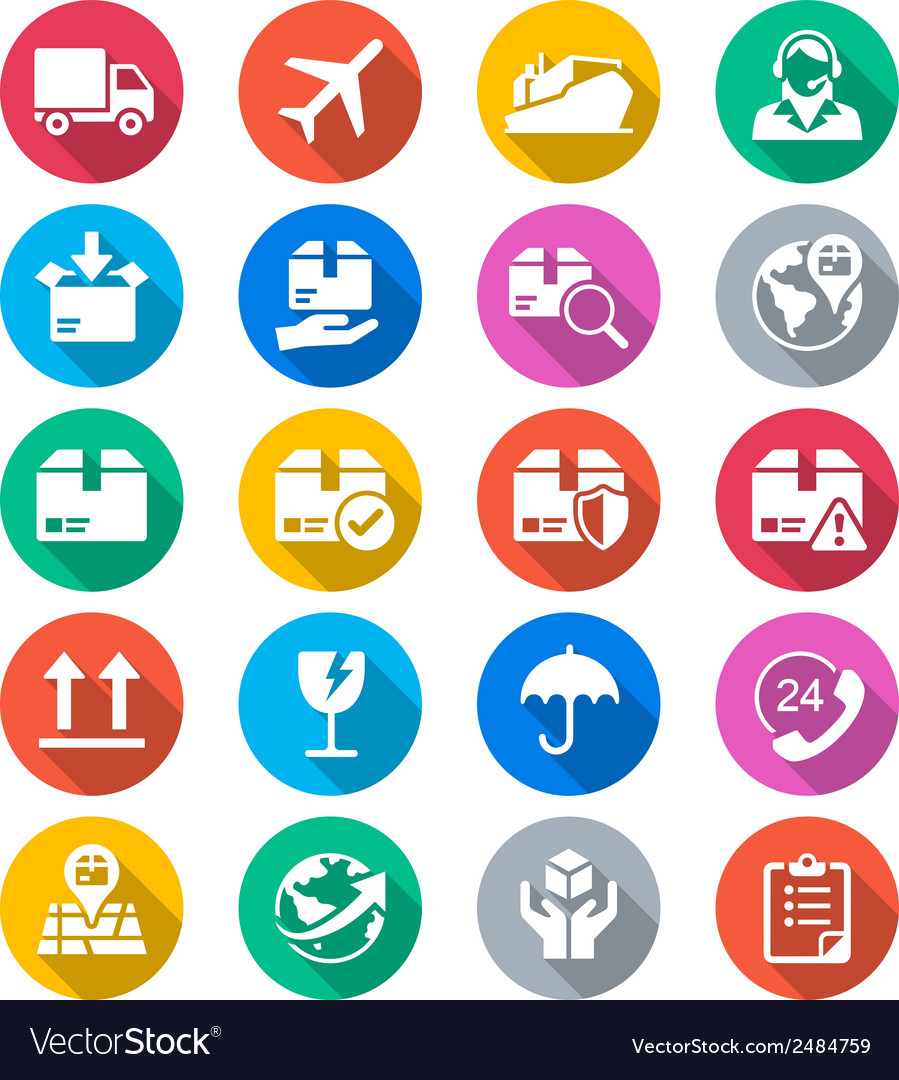 Logistics and shipping flat color icons vector | Price: 1 Credit (USD $1)
