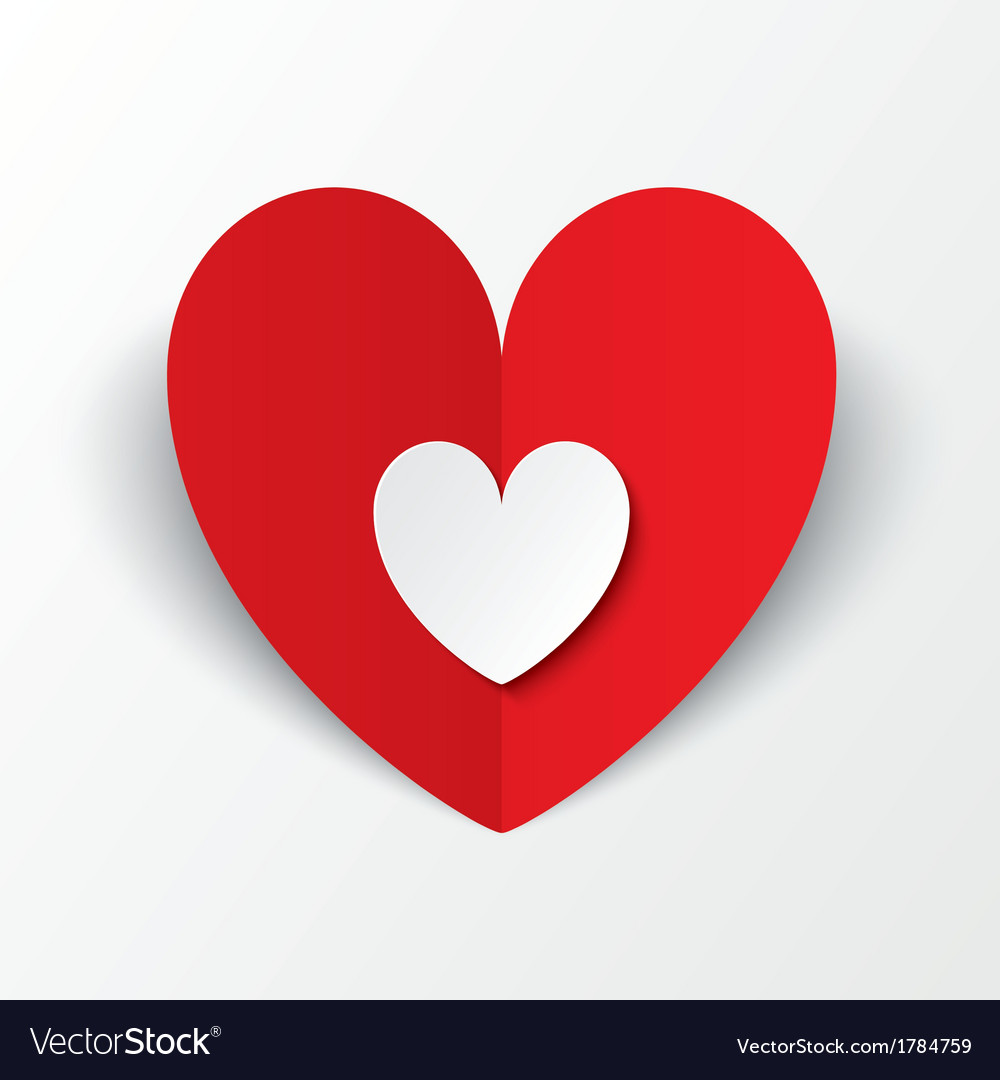 Red paper heart valentines day card on white vector   Price: 1 Credit (USD $1)