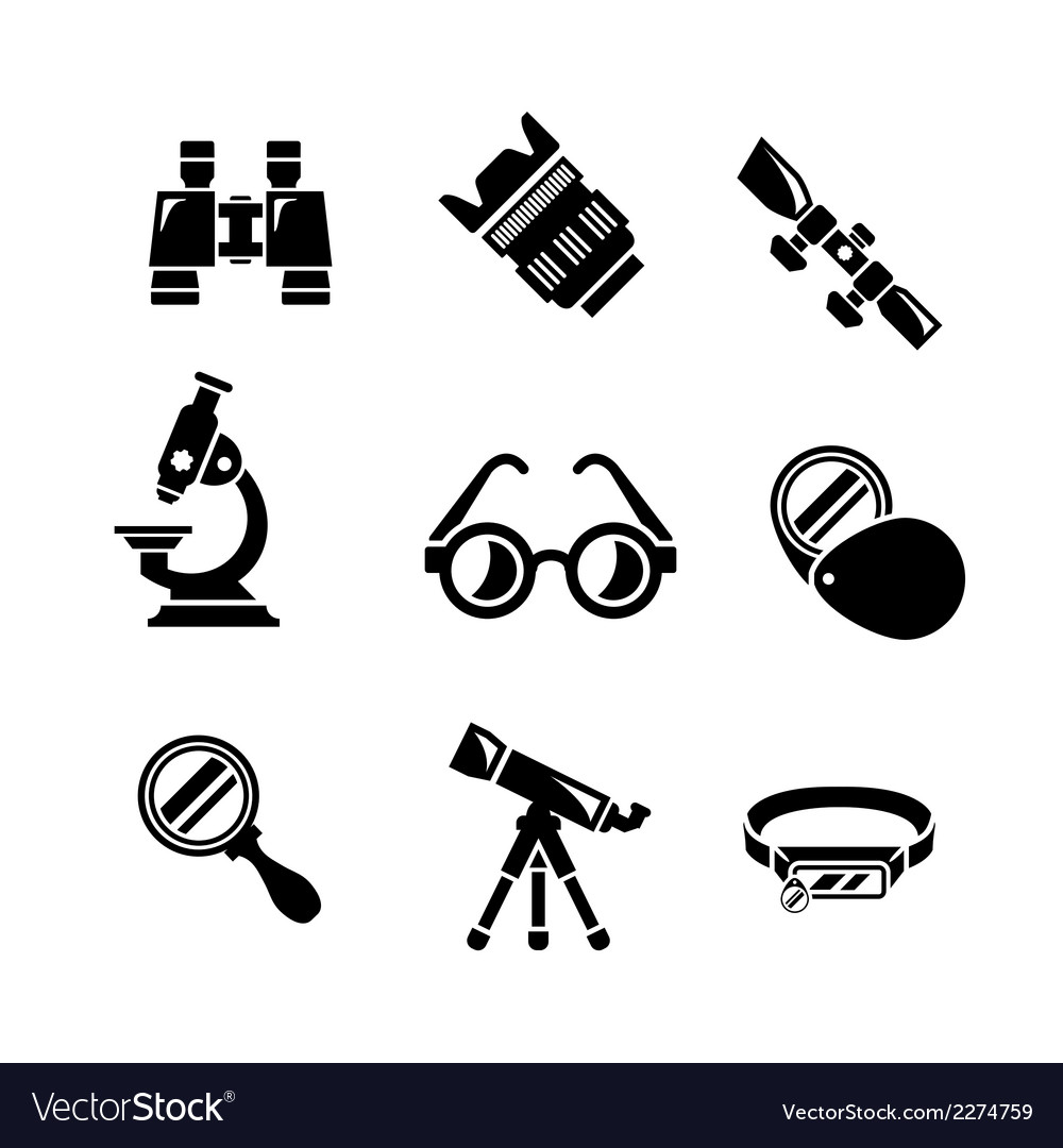 Set icons of optics equipment vector | Price: 1 Credit (USD $1)