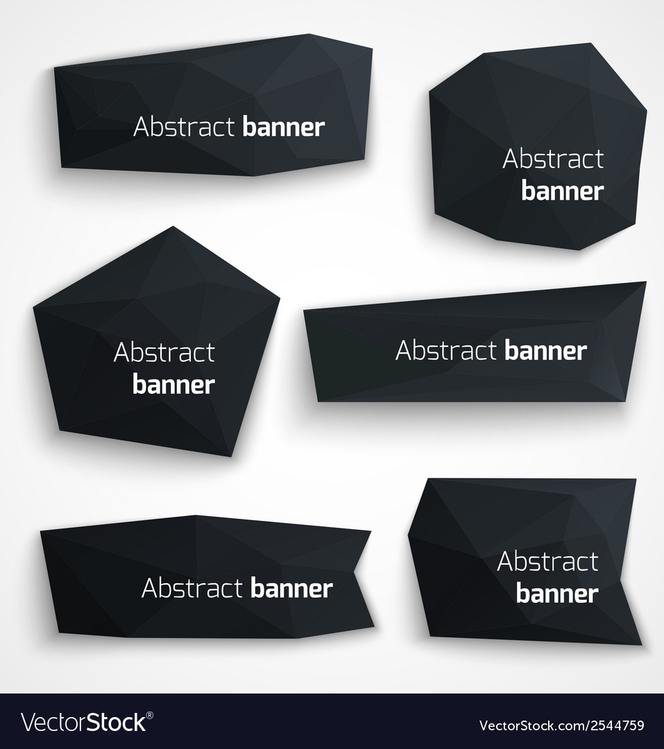 Set of abstract black banners modern style design vector | Price: 1 Credit (USD $1)