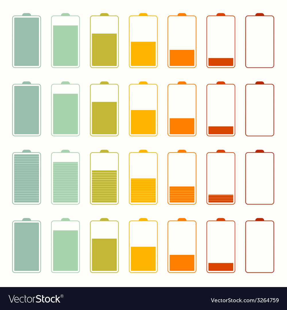 Simple battery life icon set set isolated on white vector | Price: 1 Credit (USD $1)