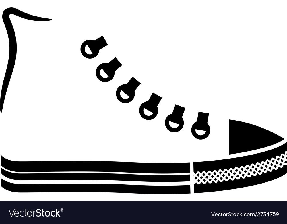 Sneaker canvas shoe black icon vector | Price: 1 Credit (USD $1)