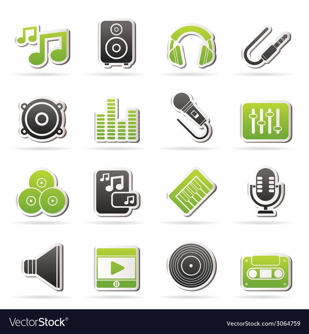 Sound and audio icons vector | Price: 1 Credit (USD $1)