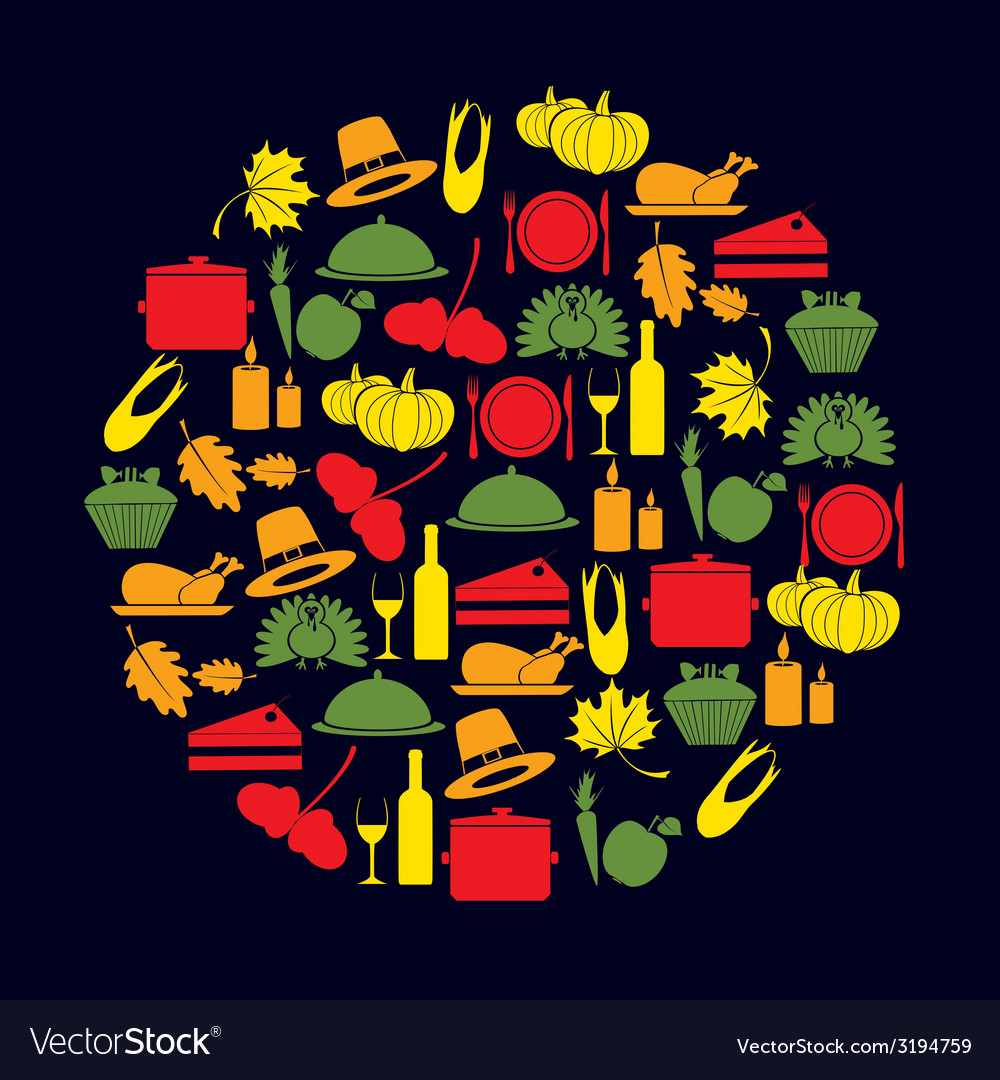 Thanksgiving color icons set in circle eps10 vector | Price: 1 Credit (USD $1)