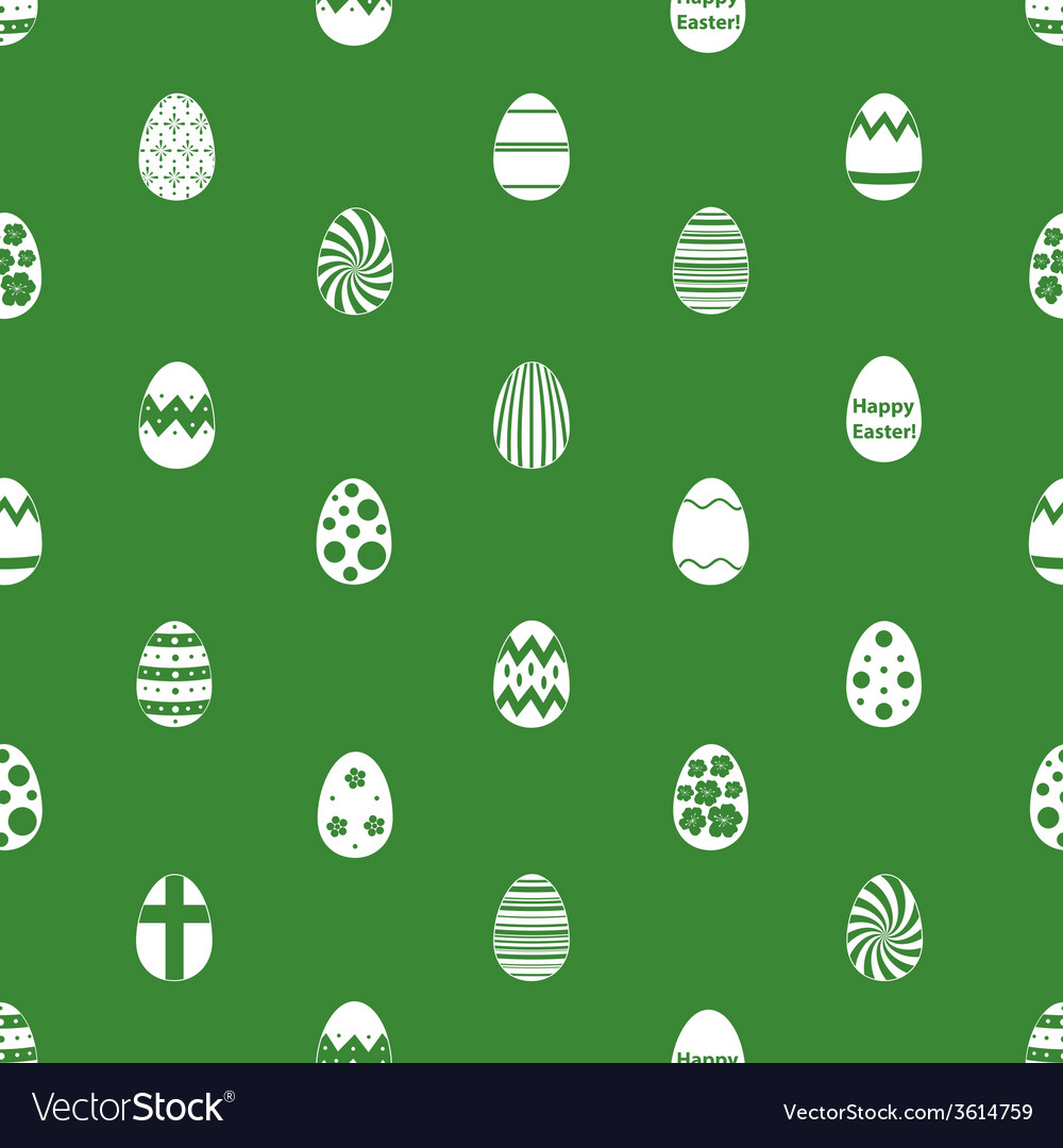 Various easter eggs design seamless green pattern vector | Price: 1 Credit (USD $1)