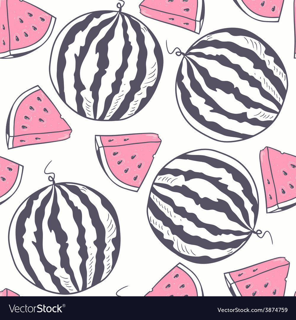Watermelon stylized seamless pattern vector   Price: 1 Credit (USD $1)