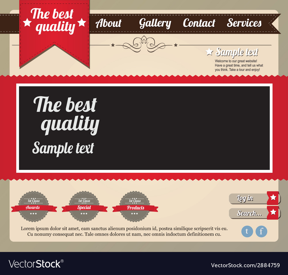Website template elements vintage style vector | Price: 1 Credit (USD $1)