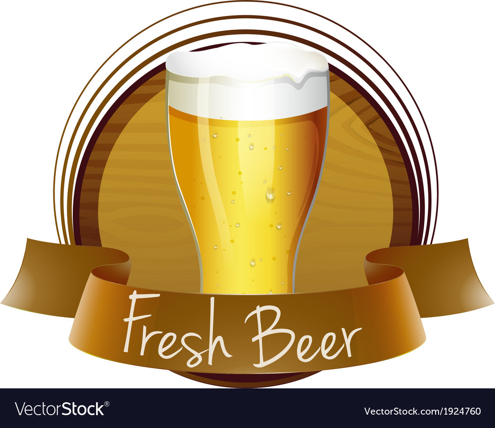 A fresh beer label with a glass of cold beer vector | Price: 3 Credit (USD $3)