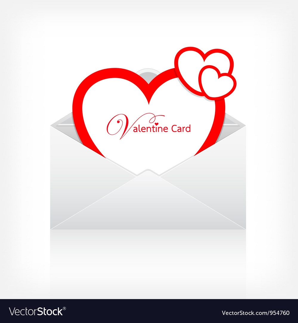 Envelope letter modern red heart card vector | Price: 1 Credit (USD $1)