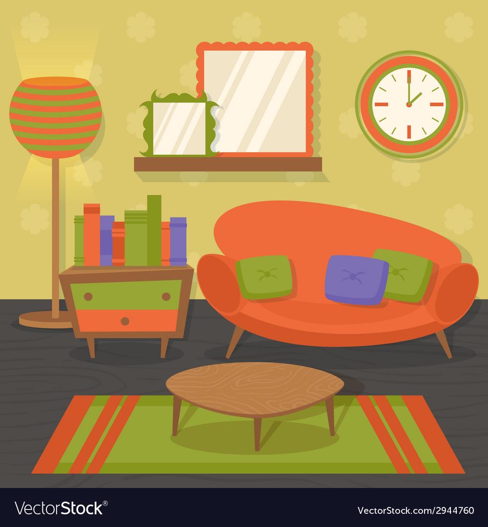 Interior design sofa vector | Price: 1 Credit (USD $1)
