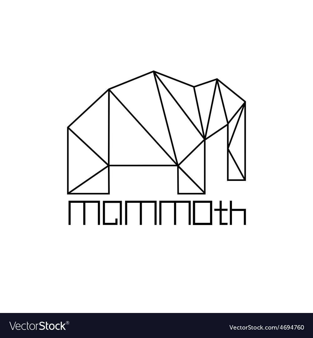 Mammoth in polygon line craft style vector | Price: 1 Credit (USD $1)