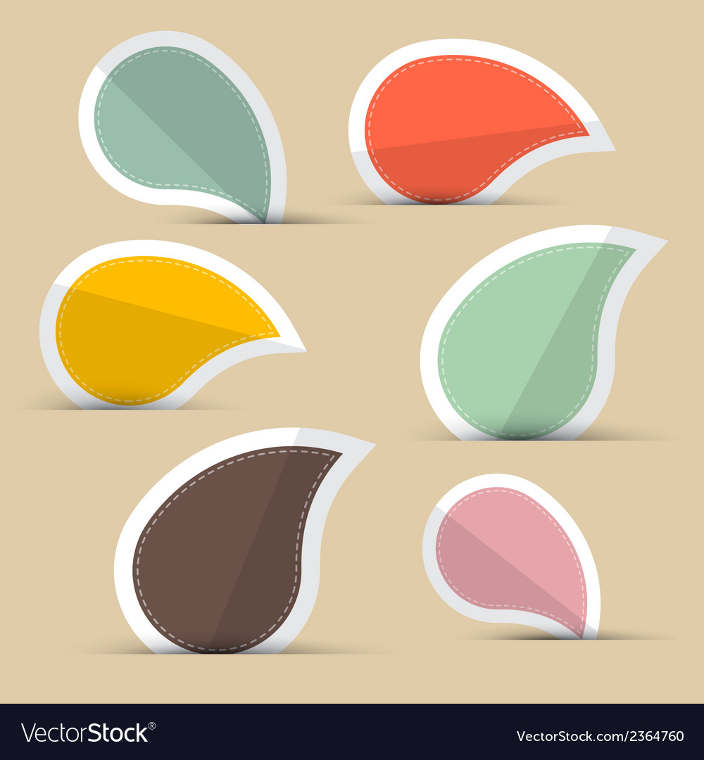 Paper stickers - labels in retro color design vector | Price: 1 Credit (USD $1)