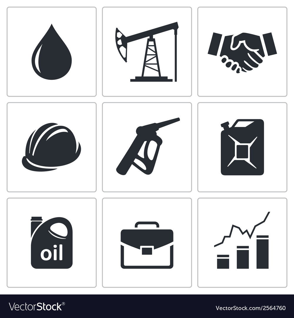 Petroleum industry icon set vector | Price: 1 Credit (USD $1)