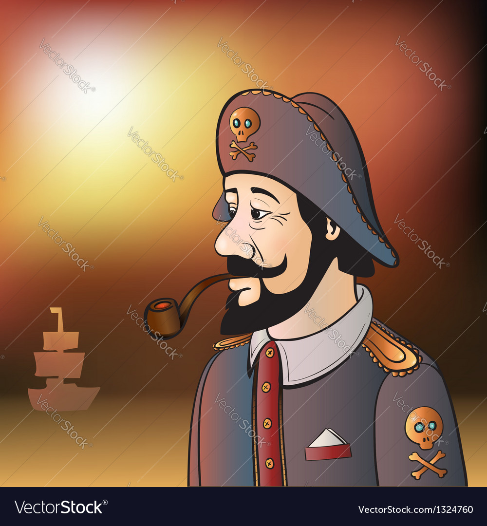 Pirate captain with beard and pipe vector | Price: 3 Credit (USD $3)