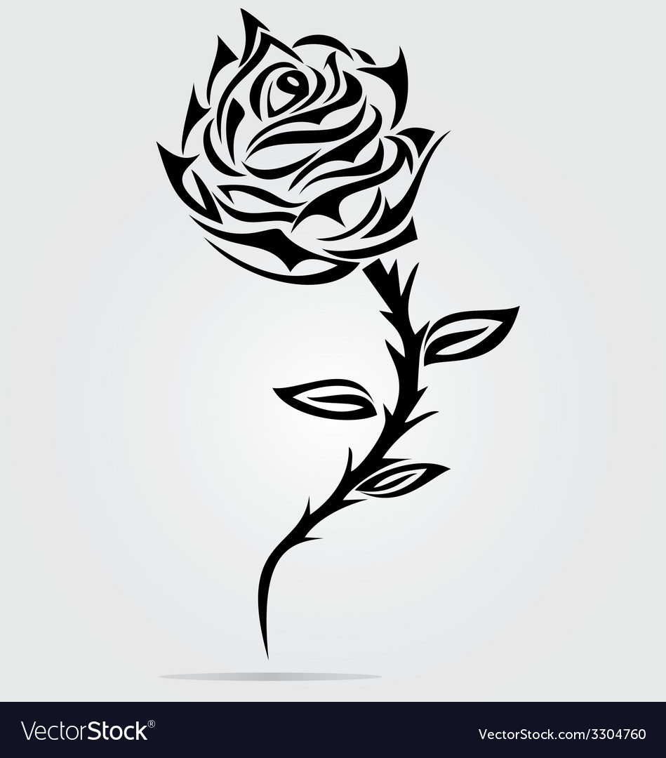 Rose flower tattoo design vector | Price: 1 Credit (USD $1)