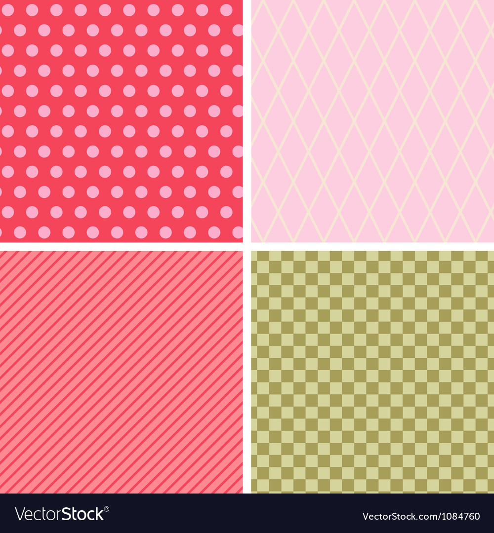 Seamless abstract retro pattern set of 4 geometric vector | Price: 1 Credit (USD $1)