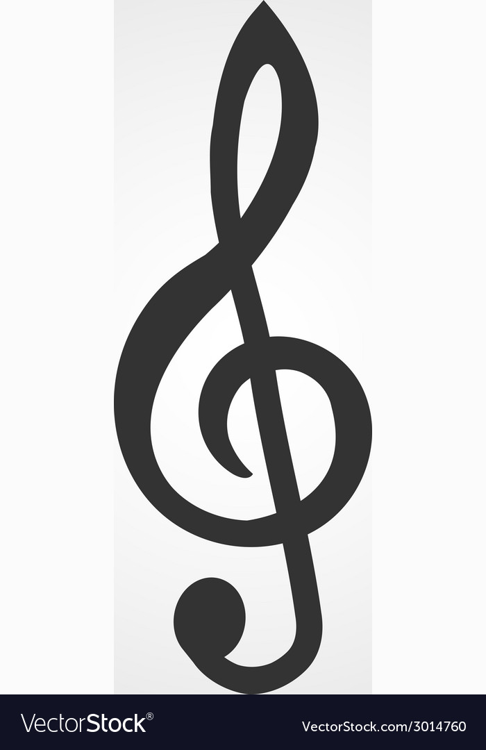 Treble clef icon flat design vector | Price: 1 Credit (USD $1)