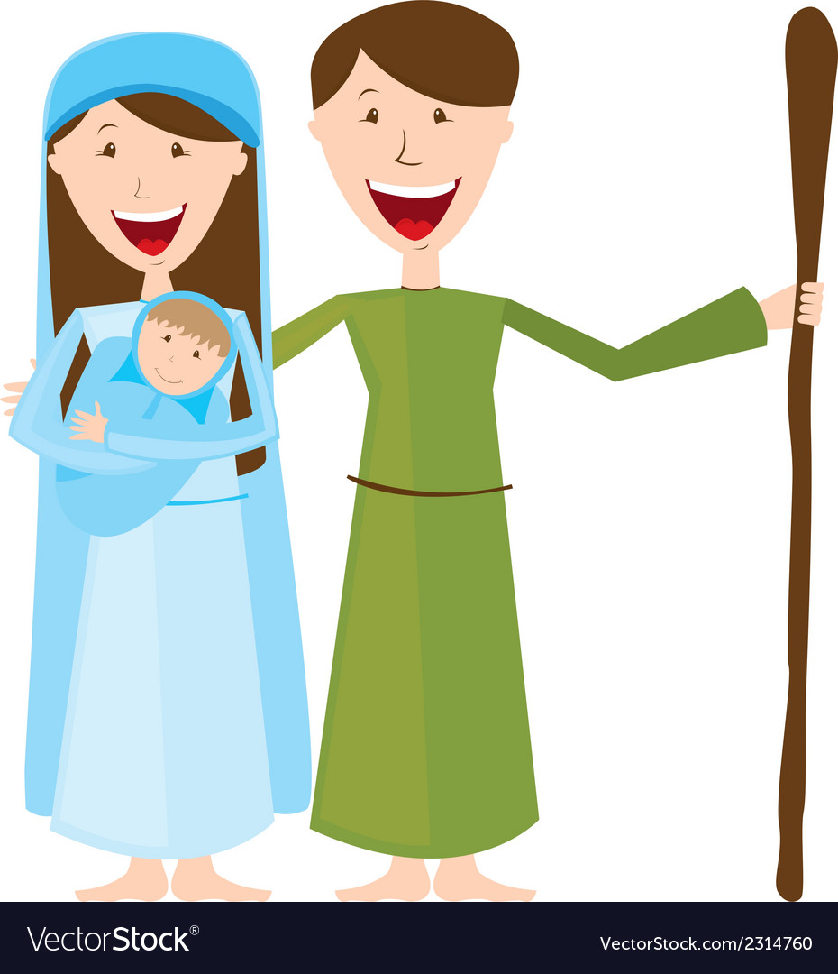 Virgin mary st joseph and baby jesus isolated vector | Price: 1 Credit (USD $1)