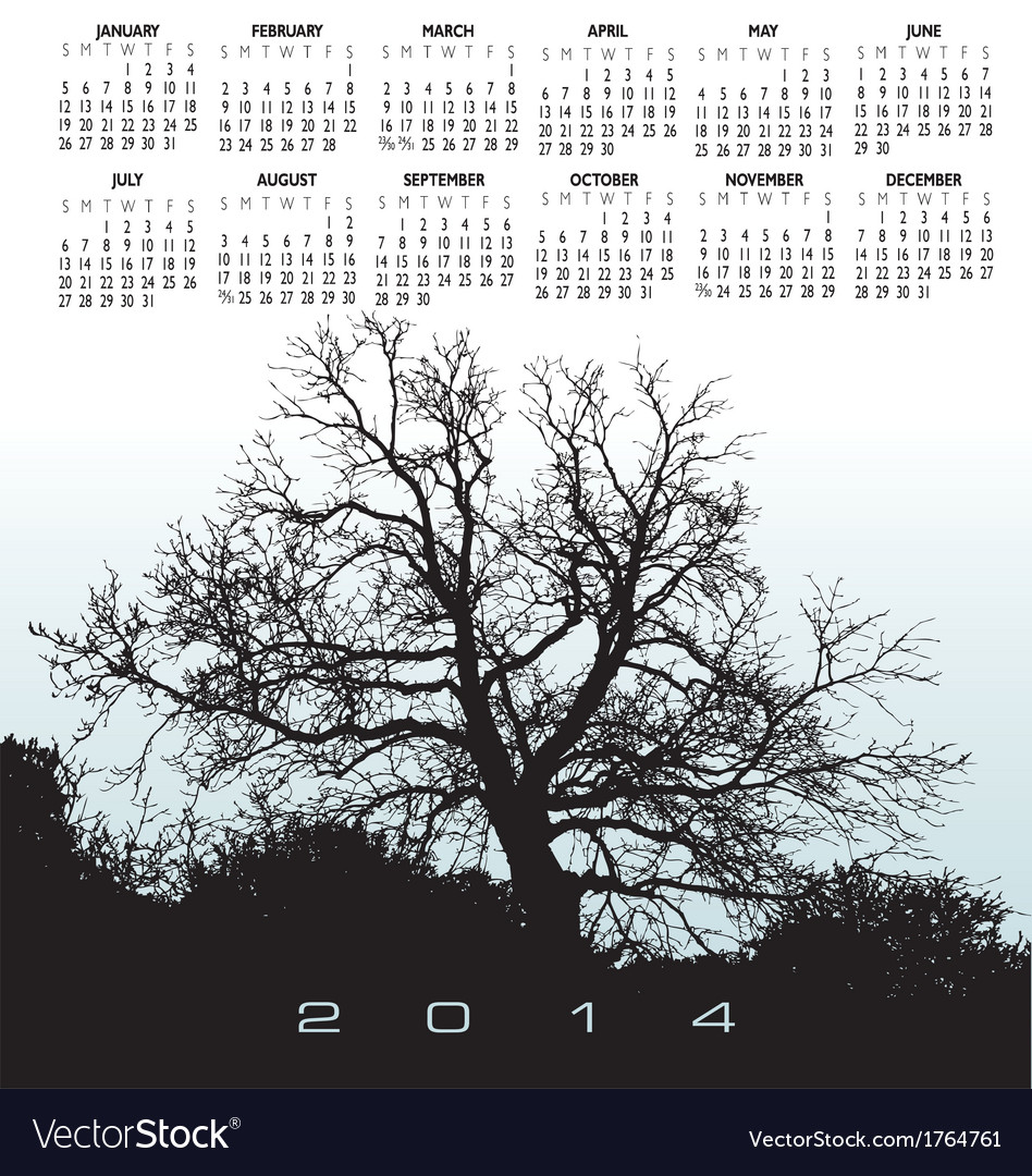 2014 light blue tree calendar vector | Price: 1 Credit (USD $1)