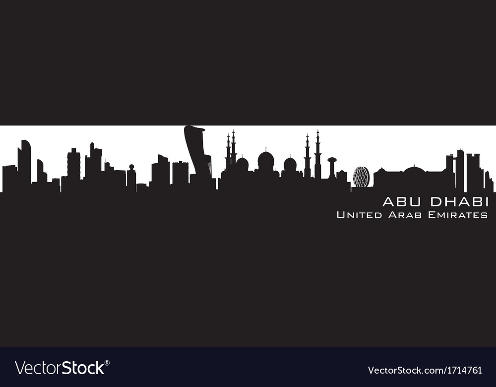 Abu dhabi uae skyline detailed silhouette vector | Price: 1 Credit (USD $1)