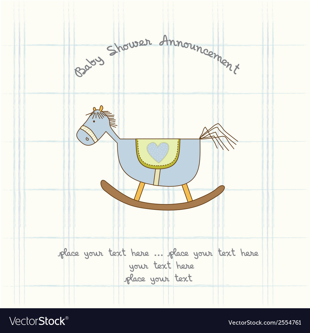 Baby shower card with wood horse vector | Price: 1 Credit (USD $1)