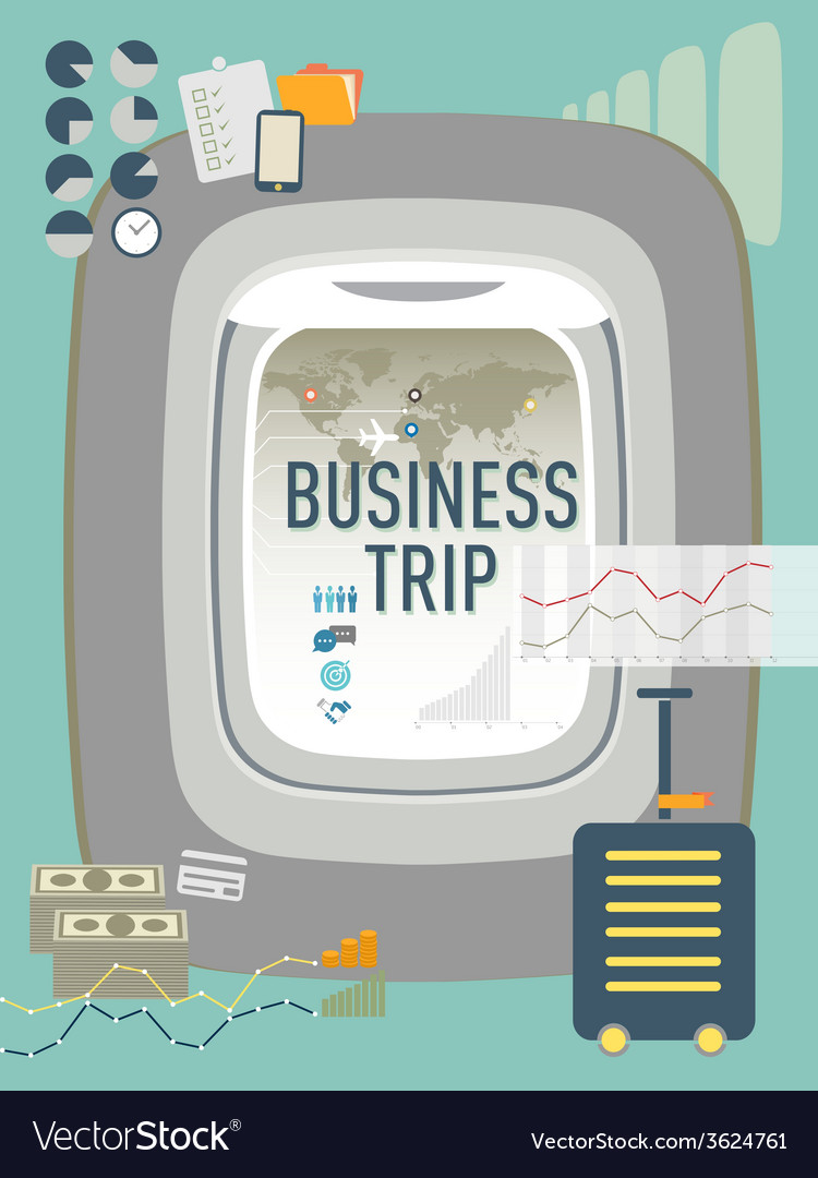 Business trip travel concept design vector | Price: 1 Credit (USD $1)