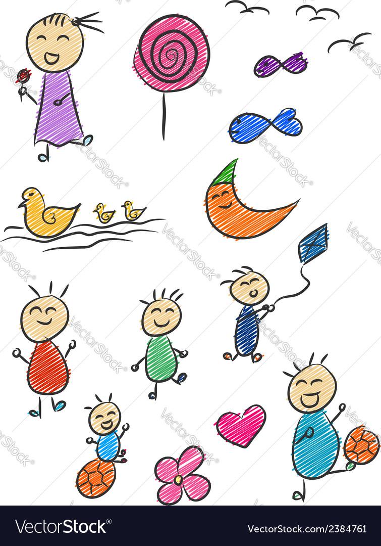 Children doodle 2 vector | Price: 1 Credit (USD $1)