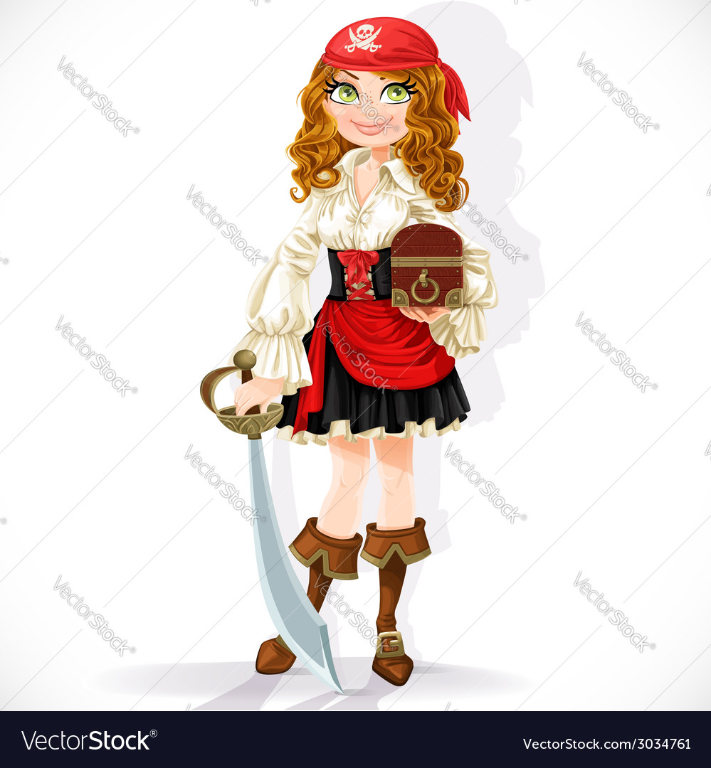 Cute pirate girl with cutlass and chest vector | Price: 3 Credit (USD $3)