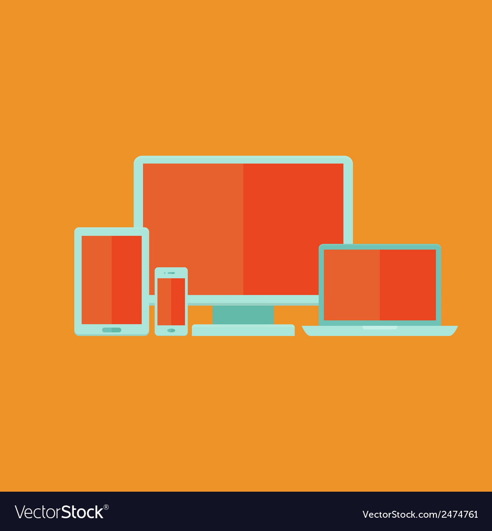 Flat technology devices set over orange vector | Price: 1 Credit (USD $1)